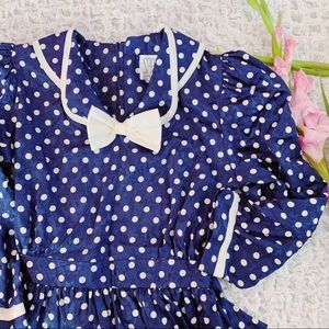 Vtg 80s Bow Polka Dot Peplum Wiggle Dress S M